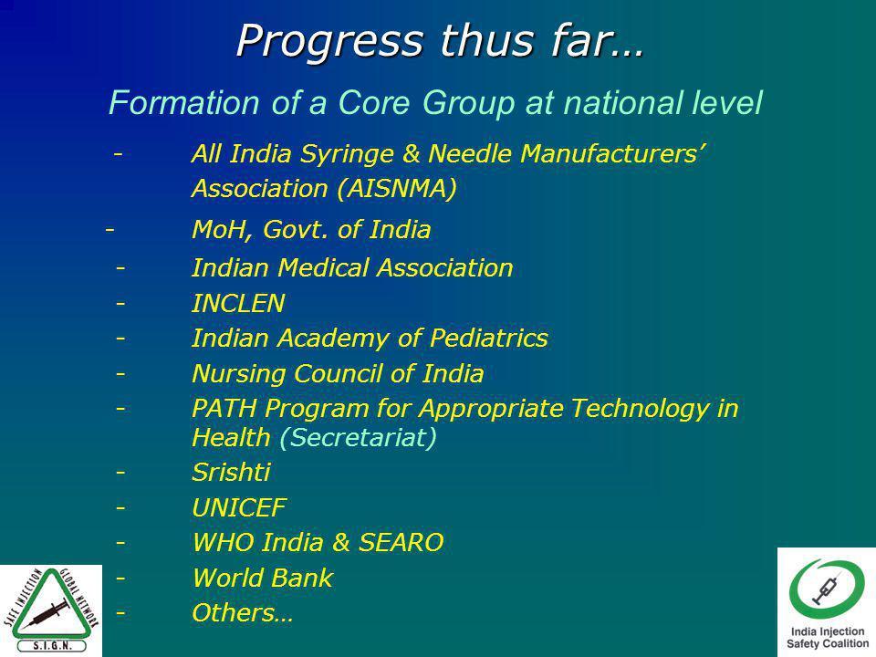 Progress thus far… - All India Syringe & Needle Manufacturers Association (AISNMA) -MoH, Govt.