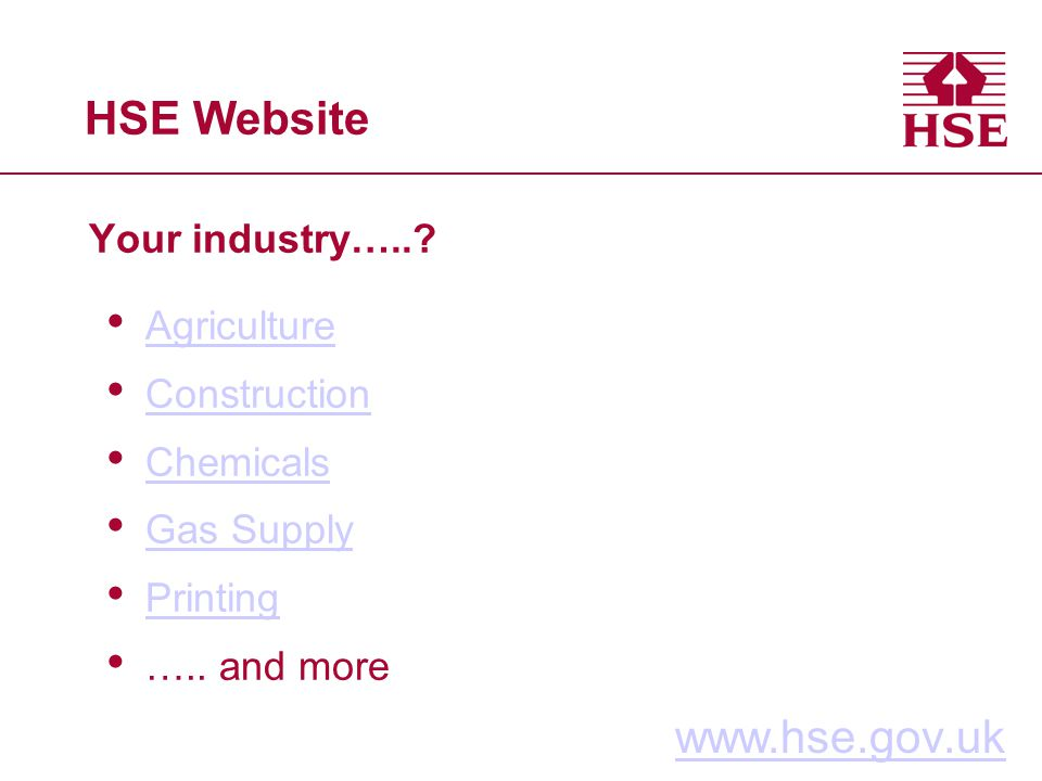 HSE Website Your industry…..? www.hse.gov.uk Agriculture Construction Chemicals Gas Supply Printing ….. and more