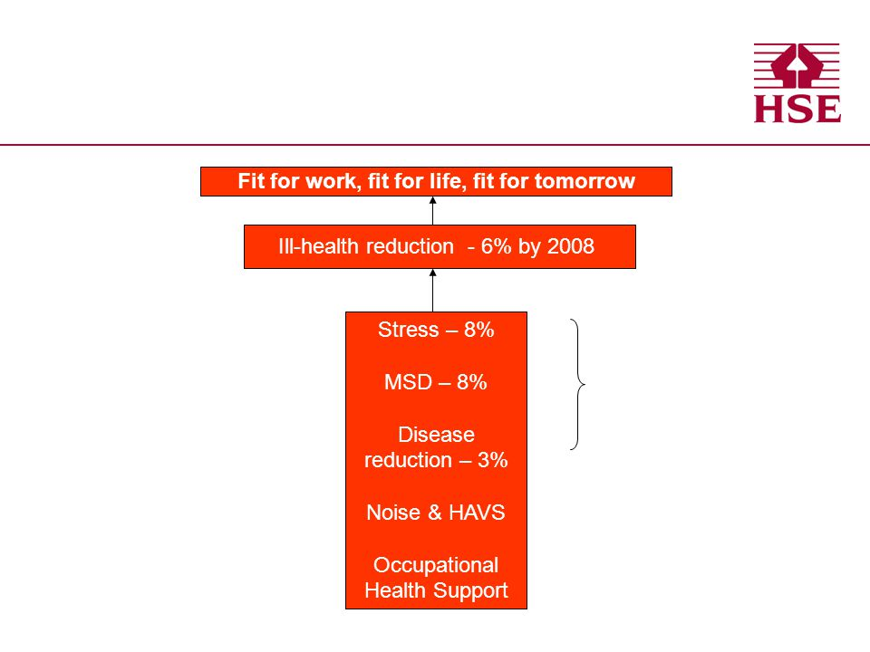 Fit for work, fit for life, fit for tomorrow Ill-health reduction - 6% by 2008 Stress – 8% MSD – 8% Disease reduction – 3% Noise & HAVS Occupational H