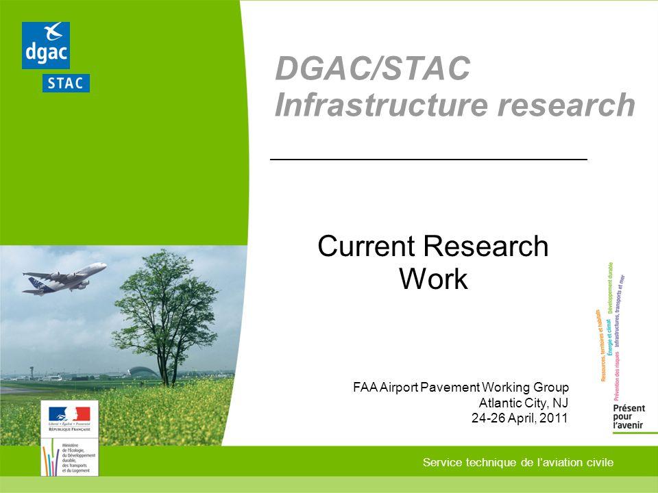 Service technique de laviation civile DGAC/STAC Infrastructure research Current Research Work FAA Airport Pavement Working Group Atlantic City, NJ 24-