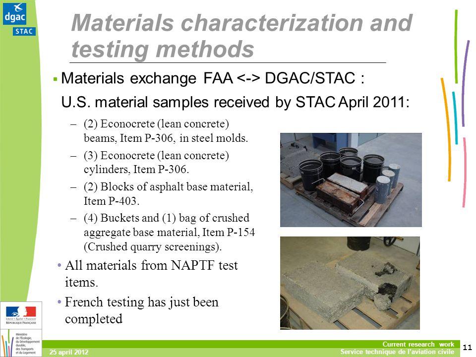 11 Current research work Service technique de laviation civile 25 april 2012 Materials characterization and testing methods Materials exchange FAA DGAC/STAC : U.S.