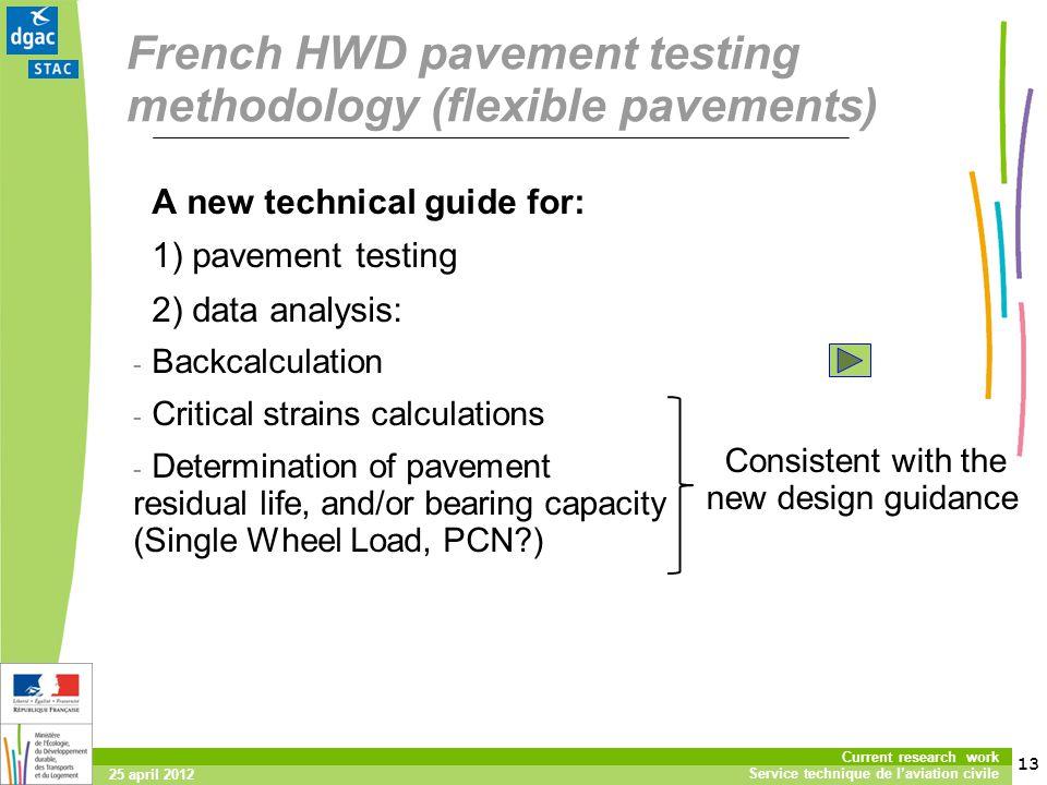 13 Current research work Service technique de laviation civile 25 april 2012 French HWD pavement testing methodology (flexible pavements) A new techni