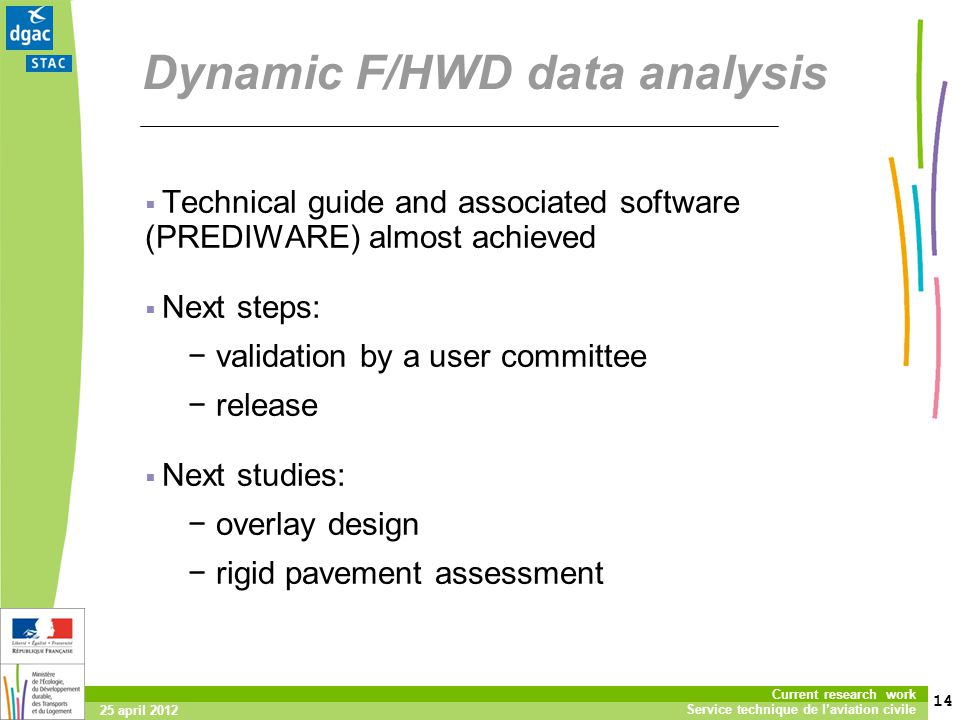 14 Current research work Service technique de laviation civile 25 april 2012 Dynamic F/HWD data analysis Technical guide and associated software (PREDIWARE) almost achieved Next steps: validation by a user committee release Next studies: overlay design rigid pavement assessment