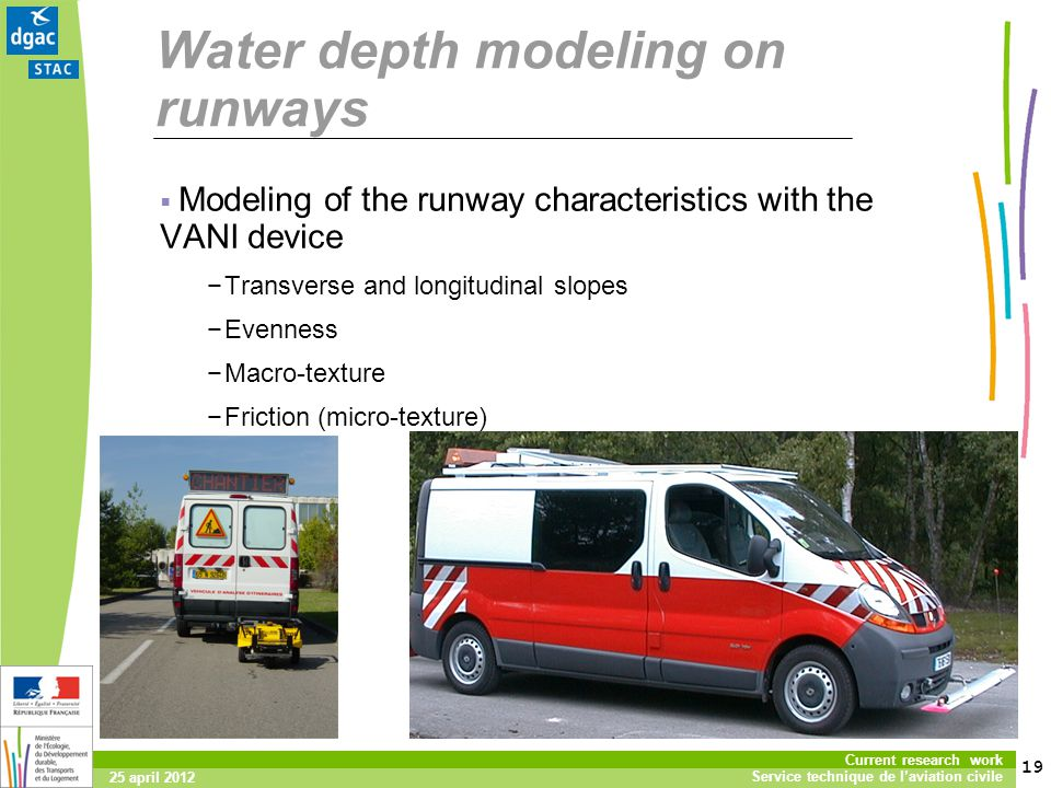 19 Current research work Service technique de laviation civile 25 april 2012 Water depth modeling on runways Modeling of the runway characteristics with the VANI device Transverse and longitudinal slopes Evenness Macro-texture Friction (micro-texture)