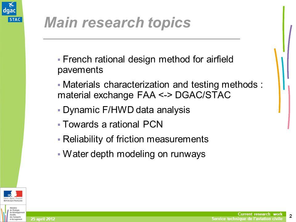 2 Current research work Service technique de laviation civile 25 april 2012 Main research topics French rational design method for airfield pavements