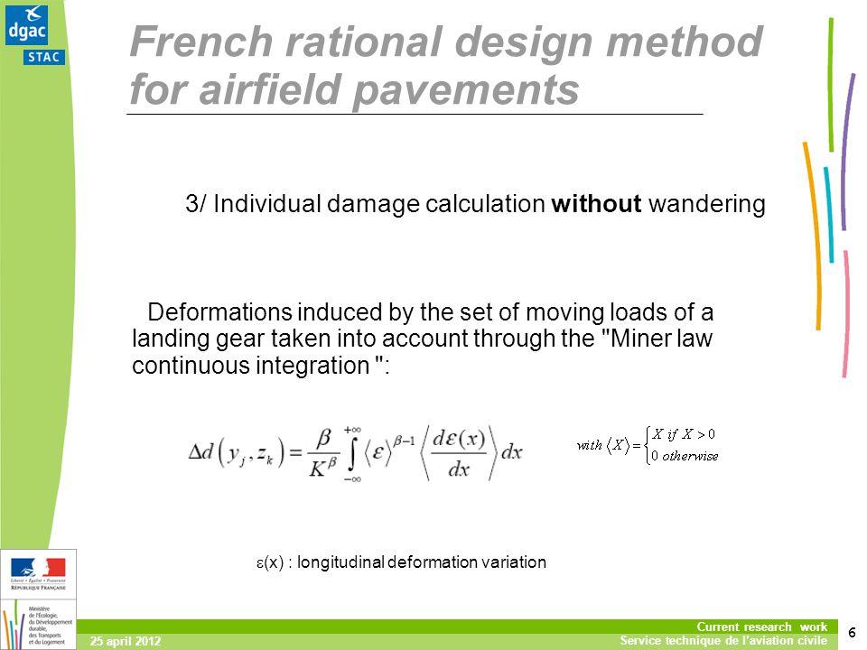 6 Current research work Service technique de laviation civile 25 april 2012 French rational design method for airfield pavements 3/ Individual damage