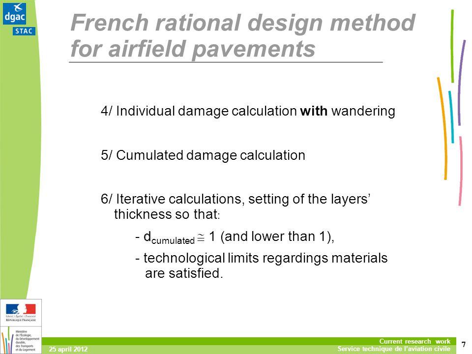 7 Current research work Service technique de laviation civile 25 april 2012 French rational design method for airfield pavements 4/ Individual damage