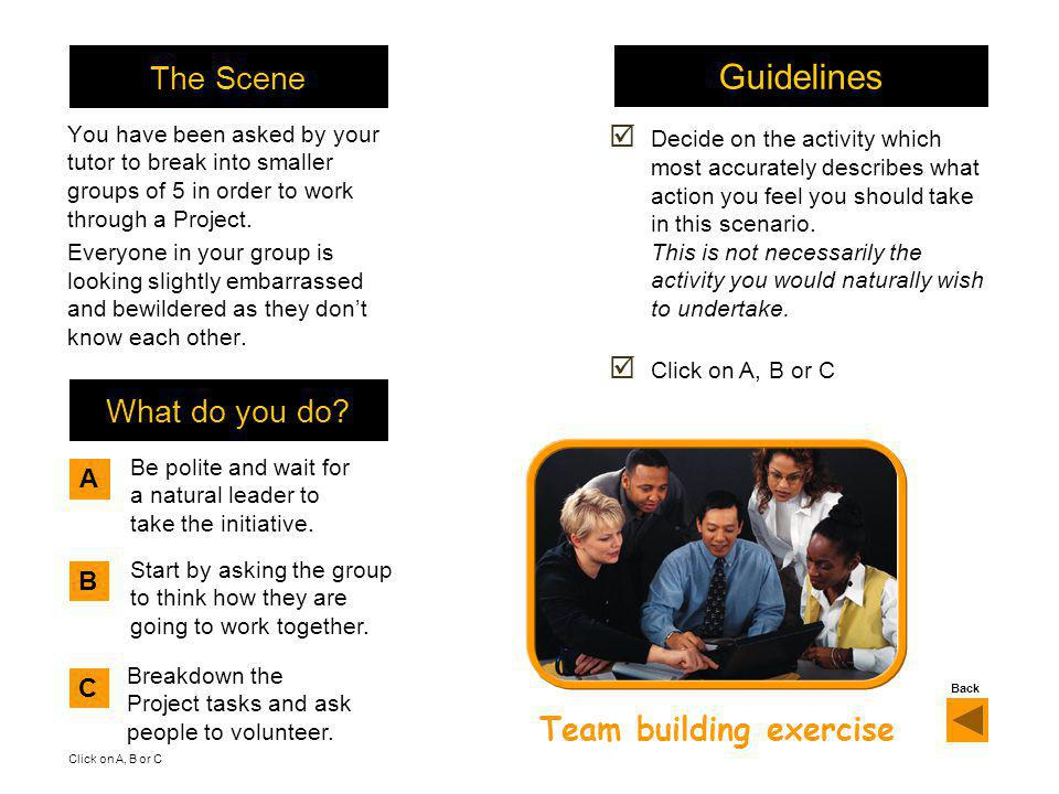 The Scene You have been asked by your tutor to break into smaller groups of 5 in order to work through a Project.