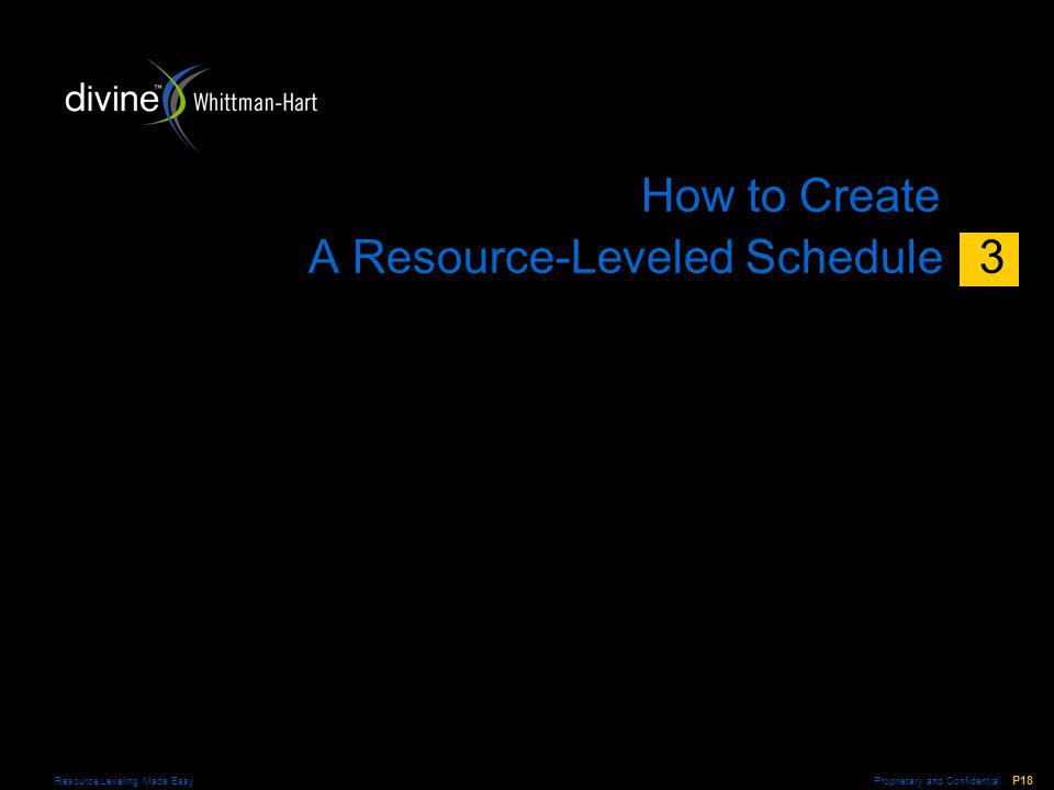 Proprietary and Confidential P18 Resource Leveling Made Easy A Resource-Leveled Schedule 3 How to Create 3