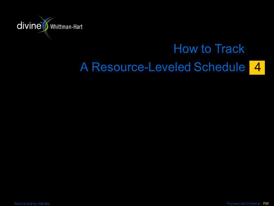 Proprietary and Confidential P29 Resource Leveling Made Easy A Resource-Leveled Schedule 4 How to Track 4