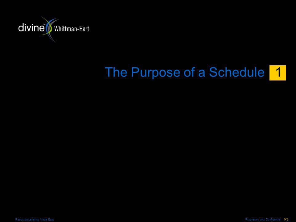 Proprietary and Confidential P4 Resource Leveling Made Easy The Purpose of a Schedule A schedule should tell you … >What things must be done >When things ought to be done >When things can be done These objectives can be accomplished by … >A task list >A task list with durations and logical relationships >A resource-leveled schedule