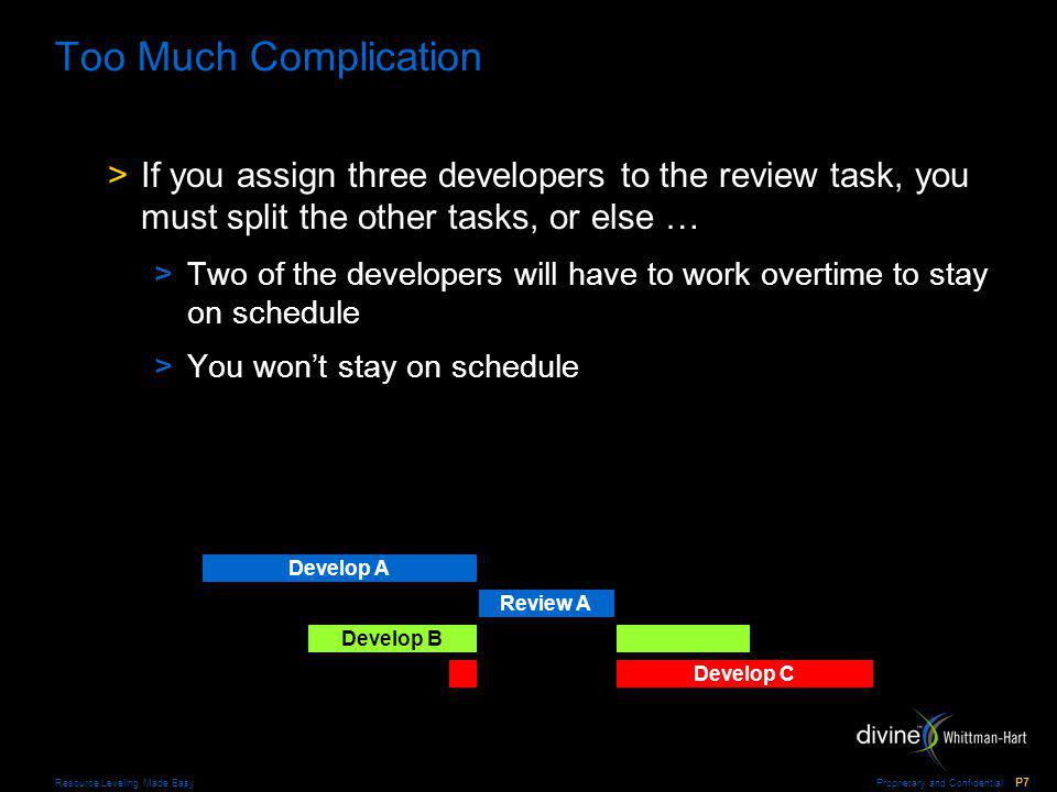 Proprietary and Confidential P7 Resource Leveling Made Easy Too Much Complication >If you assign three developers to the review task, you must split the other tasks, or else … >Two of the developers will have to work overtime to stay on schedule >You wont stay on schedule Develop A Review A Develop B Develop C