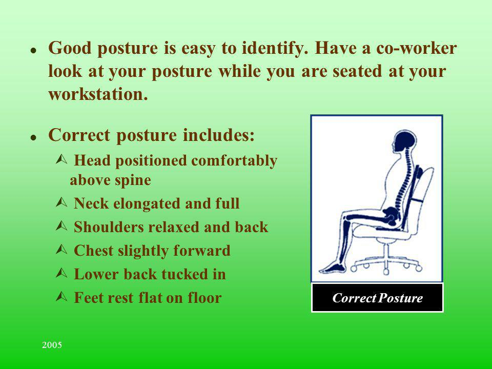 2005 l Good posture is easy to identify. Have a co-worker look at your posture while you are seated at your workstation. l Correct posture includes: Ù