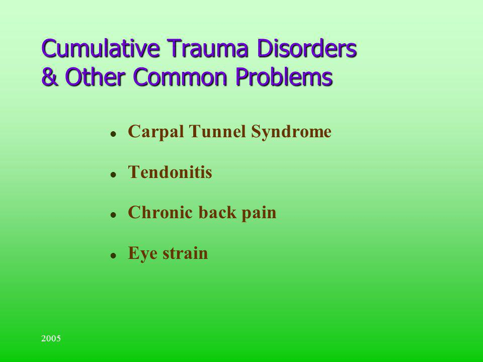2005 l Carpal Tunnel Syndrome l Tendonitis l Chronic back pain l Eye strain Cumulative Trauma Disorders & Other Common Problems