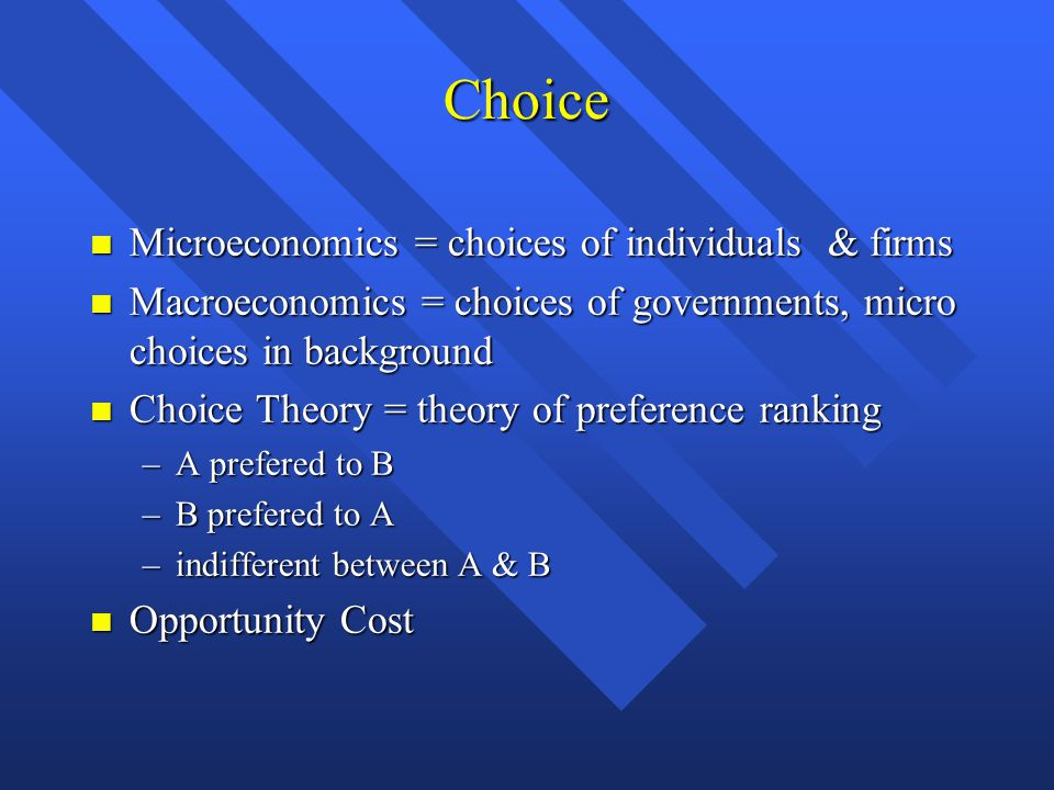 Choice Microeconomics = choices of individuals & firms Microeconomics = choices of individuals & firms Macroeconomics = choices of governments, micro