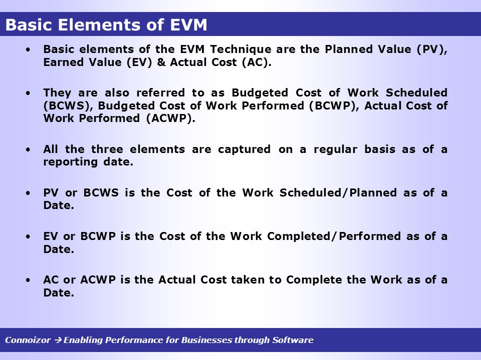 Basic Elements of EVM Basic elements of the EVM Technique are the Planned Value (PV), Earned Value (EV) & Actual Cost (AC). They are also referred to