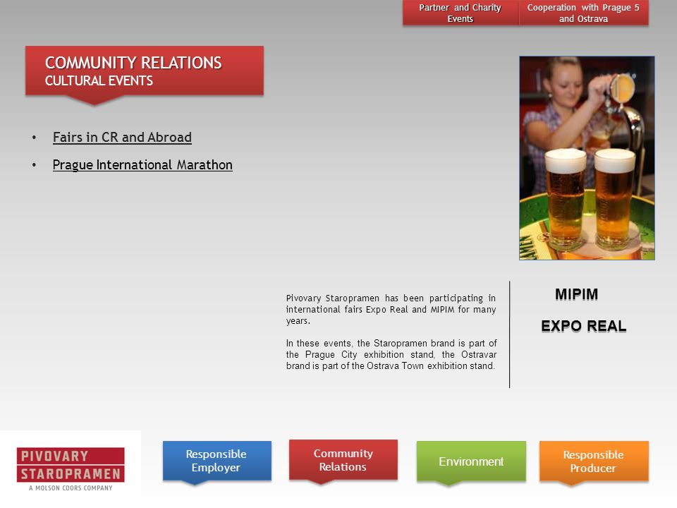 Pivovary Staropramen has been participating in international fairs Expo Real and MIPIM for many years.