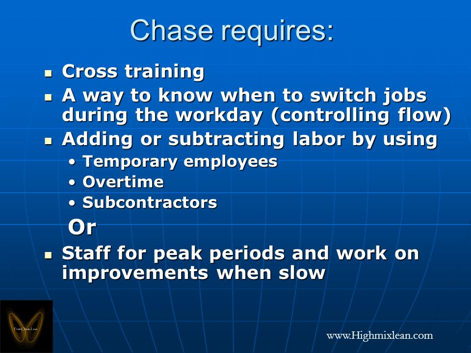 www.Highmixlean.com Chase requires: Cross training Cross training A way to know when to switch jobs during the workday (controlling flow) A way to know when to switch jobs during the workday (controlling flow) Adding or subtracting labor by using Adding or subtracting labor by using Temporary employeesTemporary employees OvertimeOvertime SubcontractorsSubcontractorsOr Staff for peak periods and work on improvements when slow Staff for peak periods and work on improvements when slow