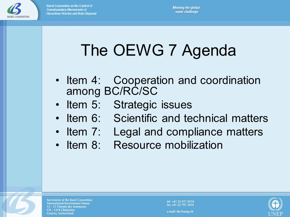 The OEWG 7 Agenda Item 4: Cooperation and coordination among BC/RC/SC Item 5: Strategic issues Item 6: Scientific and technical matters Item 7: Legal