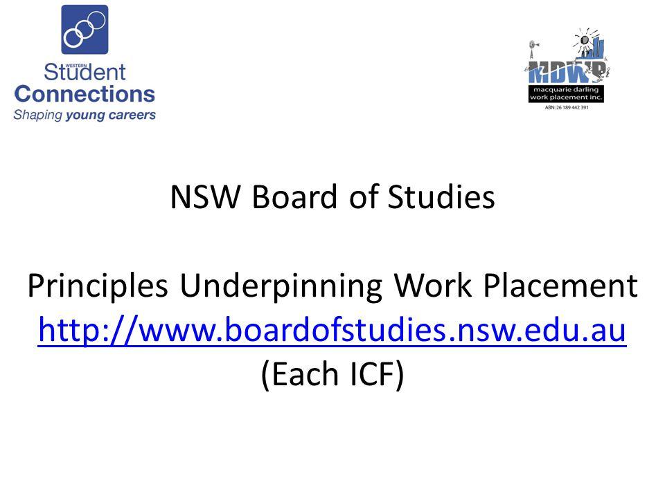 NSW Board of Studies Principles Underpinning Work Placement http://www.boardofstudies.nsw.edu.au (Each ICF) http://www.boardofstudies.nsw.edu.au