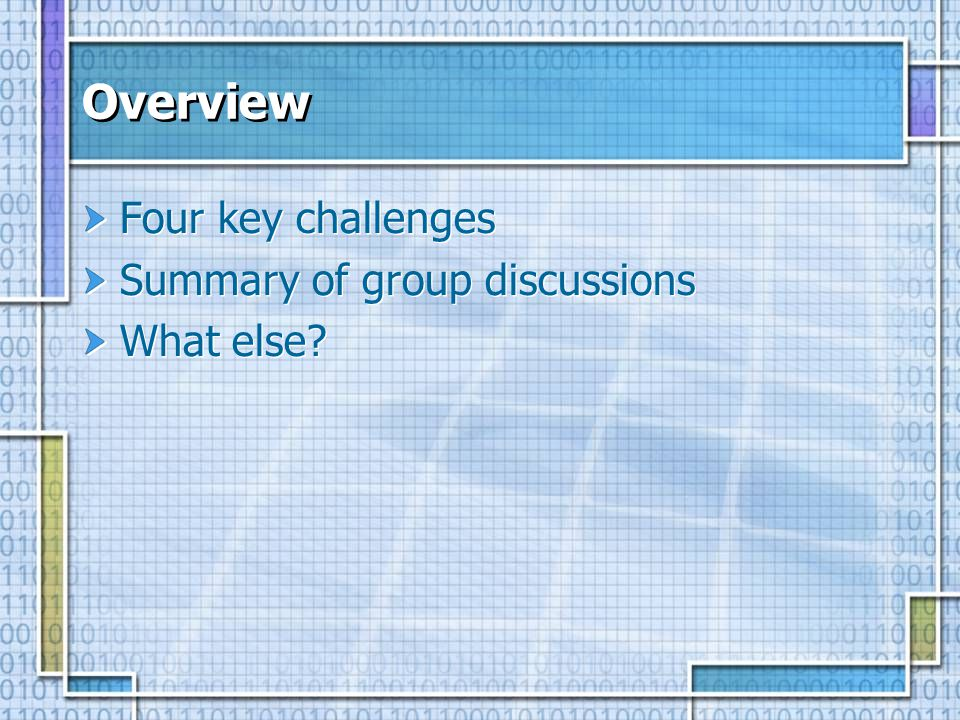 Overview Four key challenges Summary of group discussions What else.