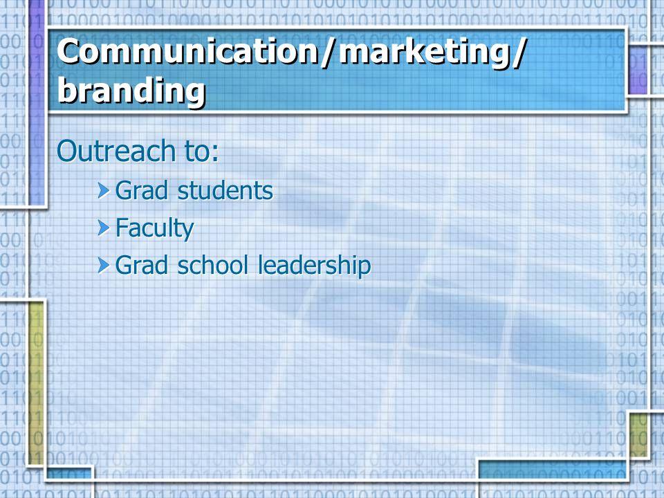 Communication/marketing/ branding Outreach to: Grad students Faculty Grad school leadership Outreach to: Grad students Faculty Grad school leadership