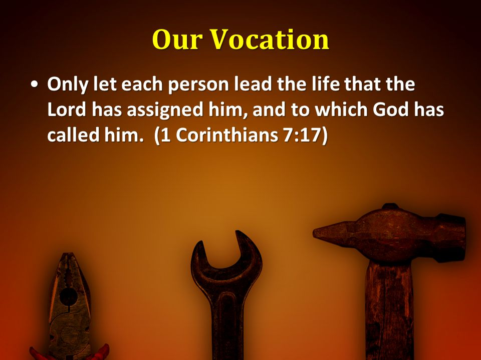 Our Vocation Only let each person lead the life that the Lord has assigned him, and to which God has called him. (1 Corinthians 7:17)Only let each per