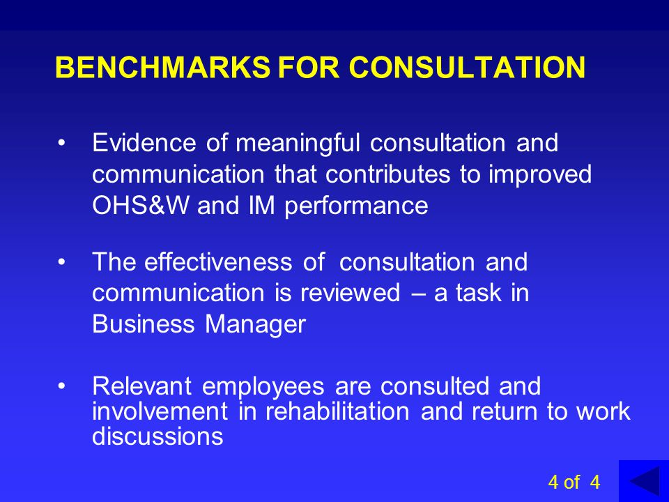 Avenues of communication include: CONSULTATIVE COMMITTEES Staff meetings Worksite OHS&W Committees (Level 1) District OHS&W Committees (Level 2) DECS State OHS&W Consultative Committee (Level 3) 3 of 4