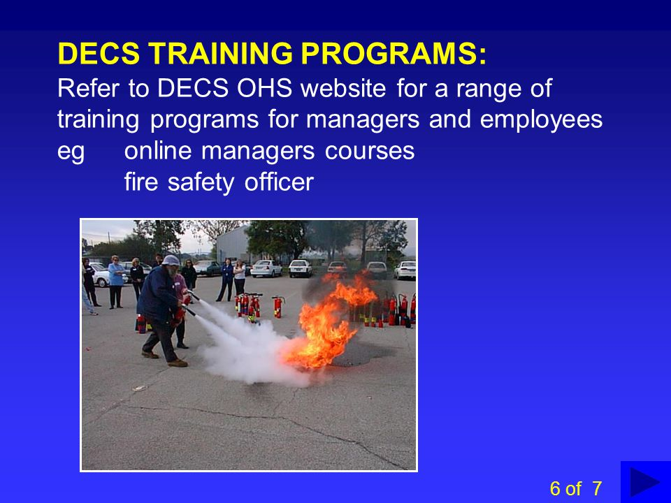 TRAINING INFORMATION ON DECS OHS&W WEBSITE 5 of 7