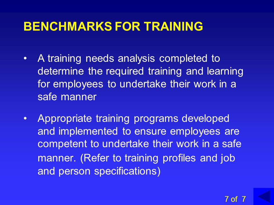 DECS TRAINING PROGRAMS: Refer to DECS OHS website for a range of training programs for managers and employees eg online managers courses fire safety officer 6 of 7