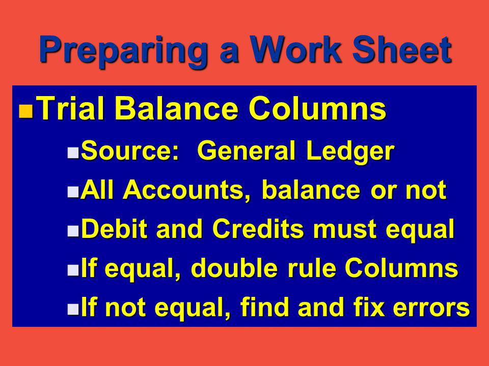 Preparing a Work Sheet Trial Balance Columns Trial Balance Columns Source: General Ledger Source: General Ledger All Accounts, balance or not All Accounts, balance or not Debit and Credits must equal Debit and Credits must equal If equal, double rule Columns If equal, double rule Columns If not equal, find and fix errors If not equal, find and fix errors