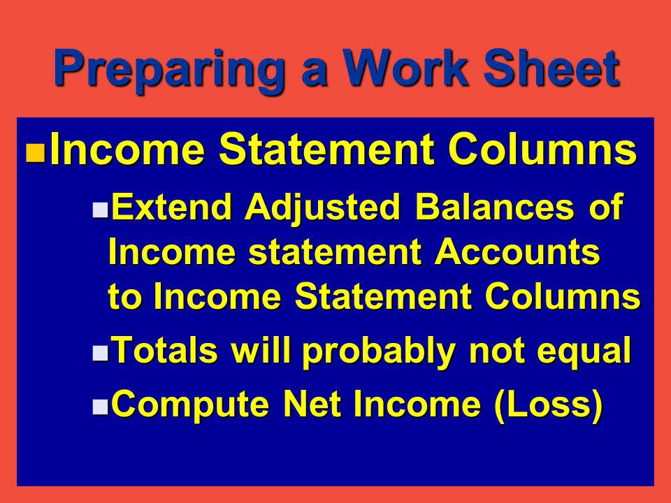 Preparing a Work Sheet Income Statement Columns Cont.