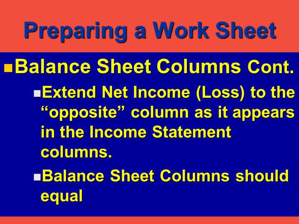 Preparing a Work Sheet Balance Sheet Columns Cont.