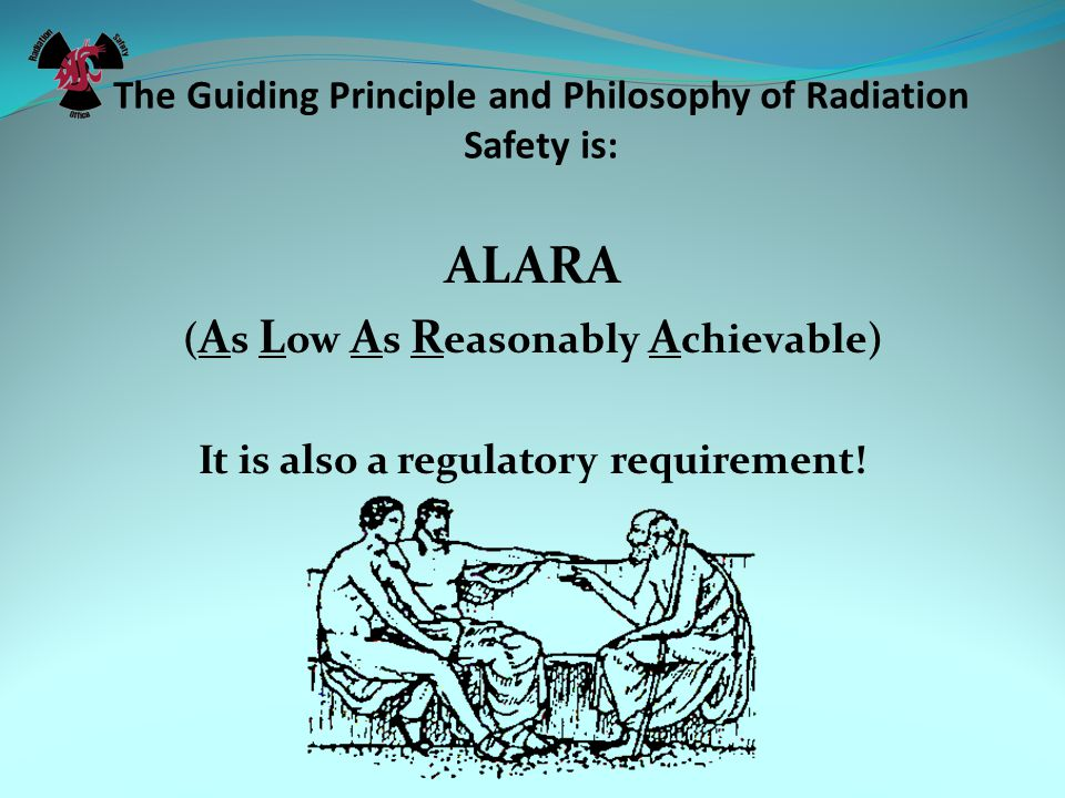 The Guiding Principle and Philosophy of Radiation Safety is: ALARA ( A s L ow A s R easonably A chievable) It is also a regulatory requirement!