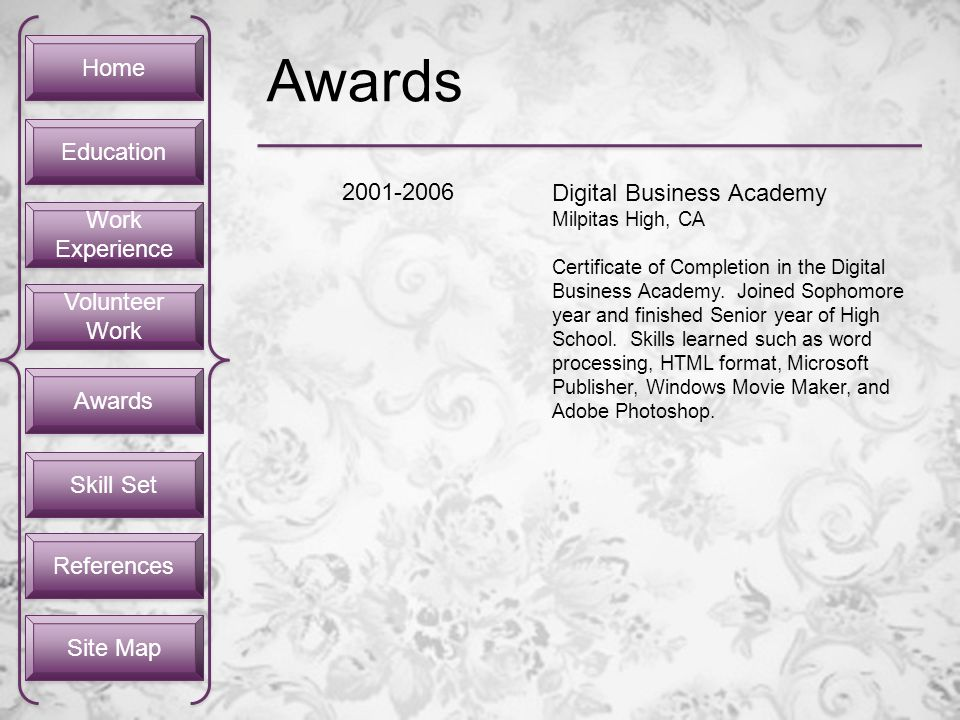 Home Work Experience Work Experience Volunteer Work Volunteer Work Awards Skill Set Site Map Education References Awards 2001-2006 Digital Business Ac