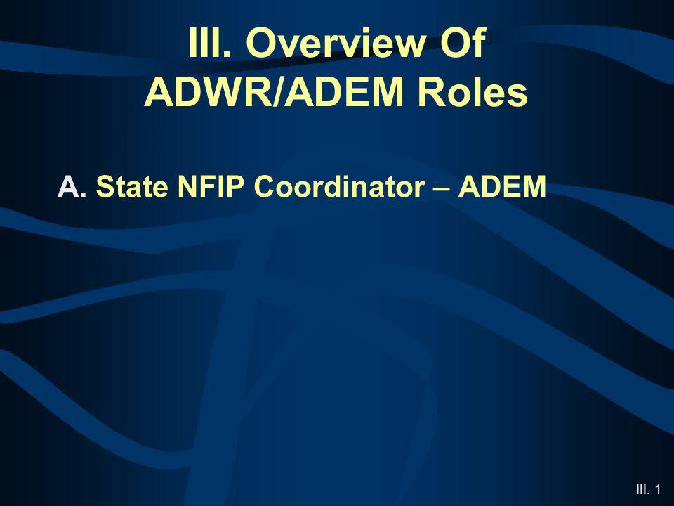 III. 1 III. Overview Of ADWR/ADEM Roles A. State NFIP Coordinator – ADEM
