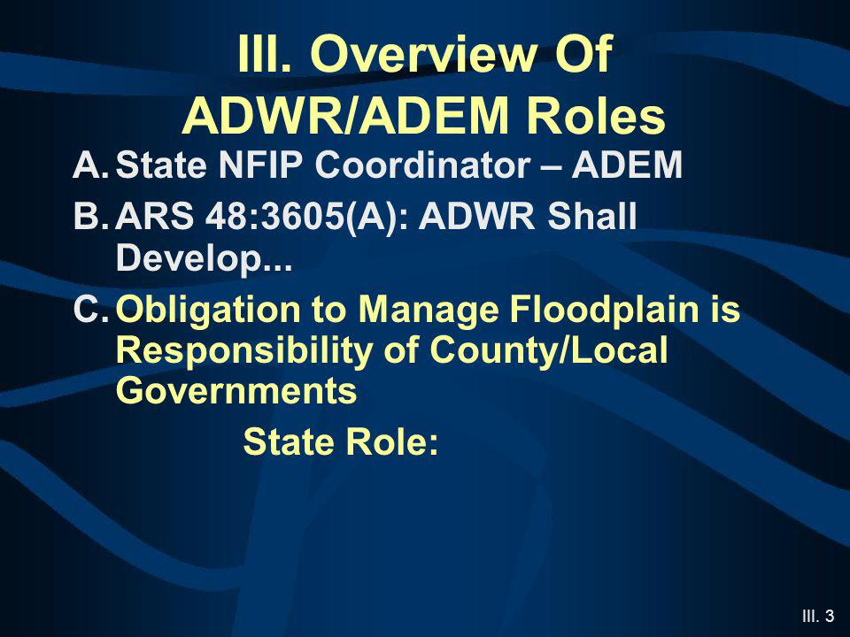 III. 3 III. Overview Of ADWR/ADEM Roles A.State NFIP Coordinator – ADEM B.ARS 48:3605(A): ADWR Shall Develop... C.Obligation to Manage Floodplain is R