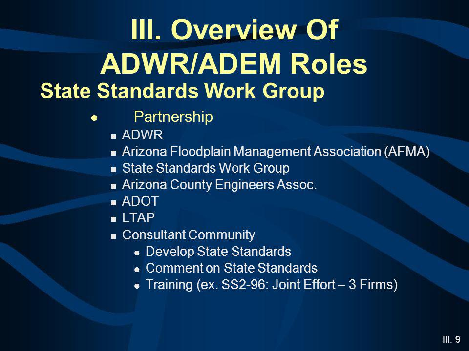 III. 9 III. Overview Of ADWR/ADEM Roles State Standards Work Group Partnership ADWR Arizona Floodplain Management Association (AFMA) State Standards W