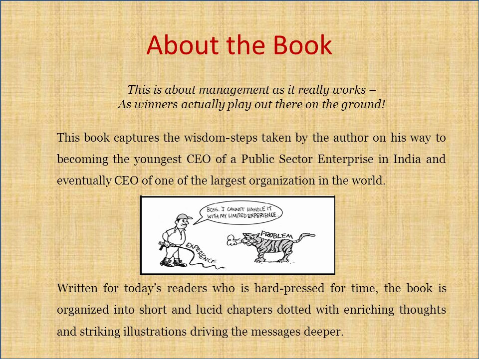 About the Book A straight out-of-the-heart presentation of insights acquired during three and a half decades of learning the ropes and growing as a successful business leader, Management by Idiots reaches out to anybody willing to think differently: students, young executives, people seeking leadership positions, and anybody striving to cope with the demands of the corporate world.