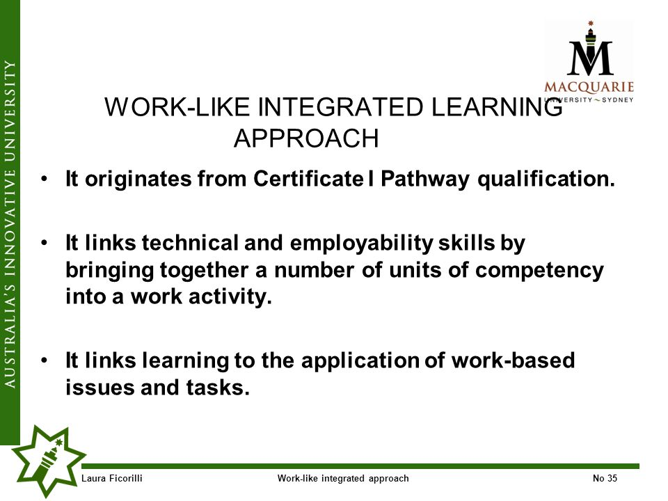 Laura FicorilliWork-like integrated approachNo 35 WORK-LIKE INTEGRATED LEARNING APPROACH It originates from Certificate I Pathway qualification.