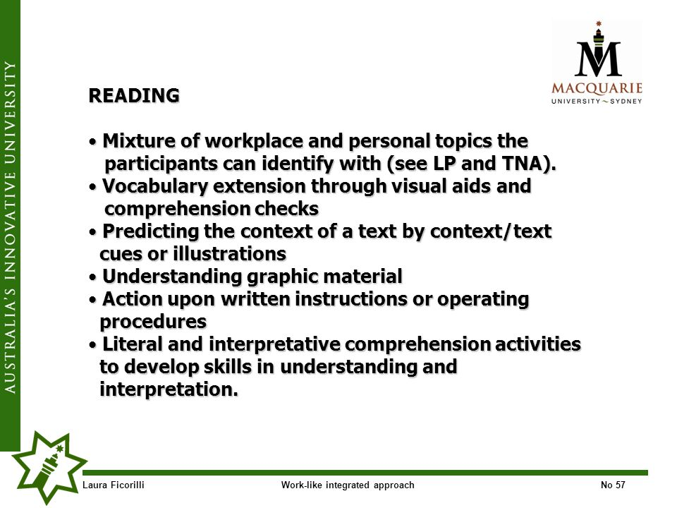 Laura FicorilliWork-like integrated approachNo 57 READING Mixture of workplace and personal topics the Mixture of workplace and personal topics the participants can identify with (see LP and TNA).