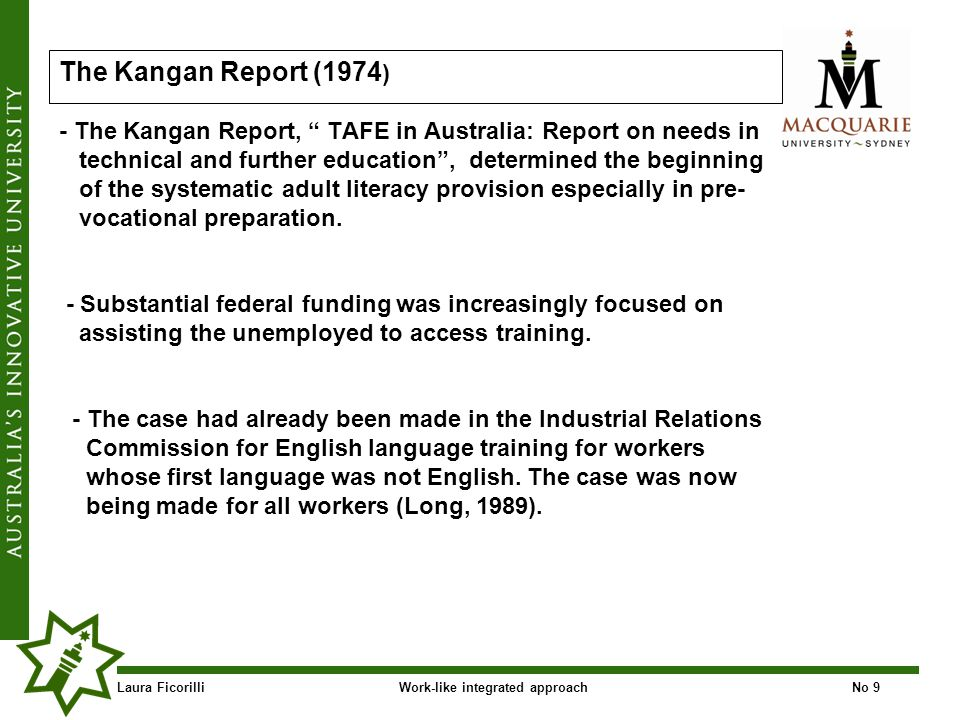 Laura FicorilliWork-like integrated approachNo 20 Competence-based training CBT was introduced in Australia in the late 1980s as a strategy to improve the skills levels of the Australian workforce, enable Australian industry to be more competitive in global markets and to establish new career structures for the Australian workforce (Carmichael,1989; NCVER,1999, p.1; Hawke, 2002).