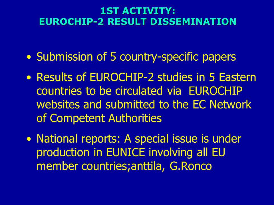 1ST ACTIVITY: EUROCHIP-2 RESULT DISSEMINATION Submission of 5 country-specific papers Results of EUROCHIP-2 studies in 5 Eastern countries to be circulated via EUROCHIP websites and submitted to the EC Network of Competent Authorities National reports: A special issue is under production in EUNICE involving all EU member countries;anttila, G.Ronco