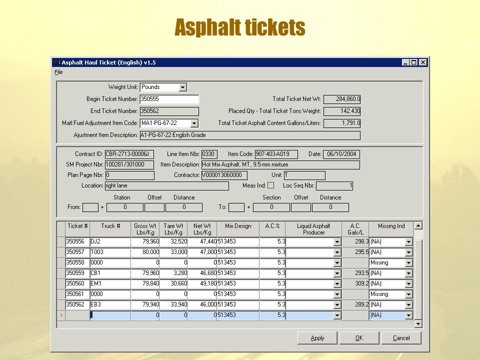 Asphalt tickets