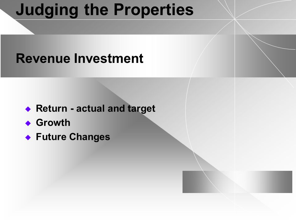 Judging the Properties Revenue Investment Return - actual and target Growth Future Changes