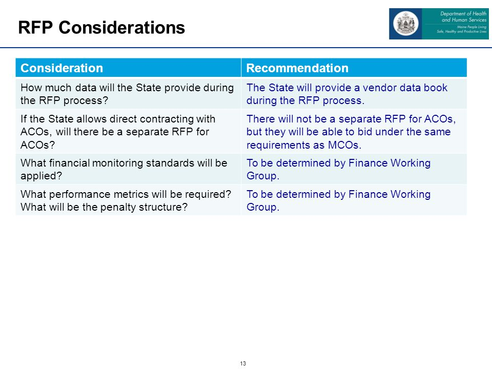13 RFP Considerations ConsiderationRecommendation How much data will the State provide during the RFP process.