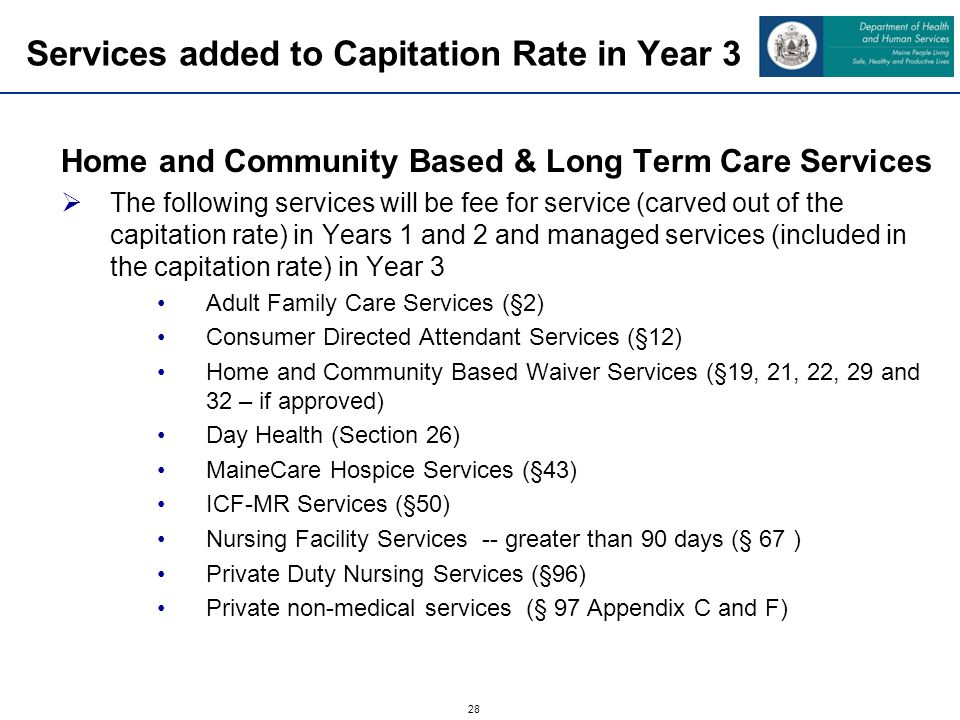 28 Services added to Capitation Rate in Year 3 Home and Community Based & Long Term Care Services The following services will be fee for service (carved out of the capitation rate) in Years 1 and 2 and managed services (included in the capitation rate) in Year 3 Adult Family Care Services (§2) Consumer Directed Attendant Services (§12) Home and Community Based Waiver Services (§19, 21, 22, 29 and 32 – if approved) Day Health (Section 26) MaineCare Hospice Services (§43) ICF-MR Services (§50) Nursing Facility Services -- greater than 90 days (§ 67 ) Private Duty Nursing Services (§96) Private non-medical services (§ 97 Appendix C and F)