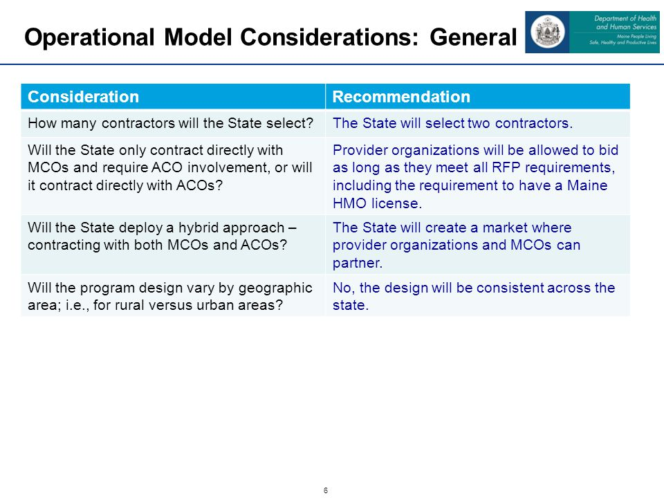 7 Operational Model Considerations: General ConsiderationRecommendation How will payment reform principles be incorporated into the model.
