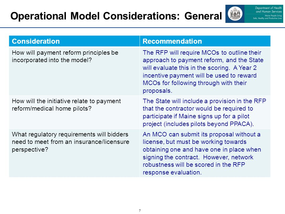 8 Operational Model Considerations: Payments ConsiderationRecommendation What level of risk will the contractors assume.