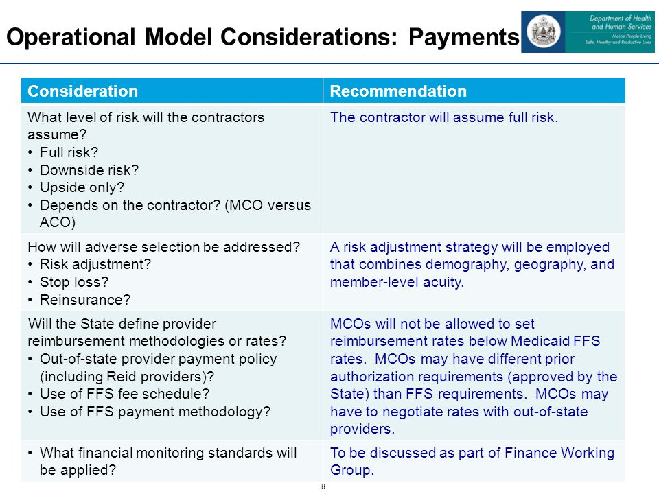 9 Operational Model Considerations: Enrollment ConsiderationRecommendation Will eligible members have a choice of contractors.